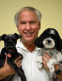 male veterinarian holding black schnauzer and black and white dog